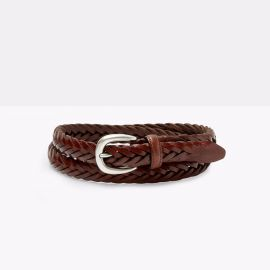 ADRIANO MENEGHETTI ELLAR Cognac Handbraided Leather Belt