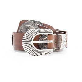 ADRIANO MENEGHETTI CONCHO Cognac leather belt