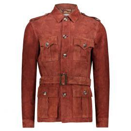 ATACAMA Clark Brick Red Goatskin Suede Safari Jacket with Waistbelt