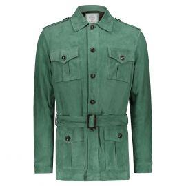 ATACAMA Clark Green Goatskin Suede Safari Jacket with Waistbelt