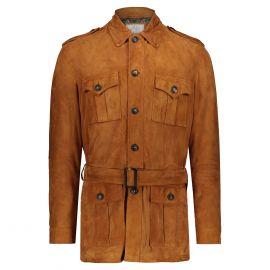 ATACAMA Clark Natural Goatskin Suede Safari Jacket with Waistbelt