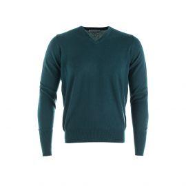 DOUGAL Dark Green 100% Cashmere V-Neck Pullover