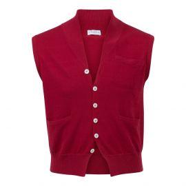 Red 100% Cotton V-Neck Gilet