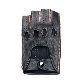 Black Leather with Orange stitching Fingerless Driving Gloves