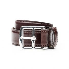 ADRIANO MENEGHETTI BUTTERO Chocolate leather belt