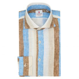 CORDONE 1956 Azure and Beige Big Striped Linen Limited Edition Shirt