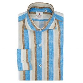 CORDONE 1956 Azure and Beige Striped Linen Limited Edition Shirt