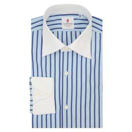 CORDONE 1956 Azure and Blue Cotton Cam Striped Shirt