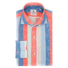CORDONE 1956 Azure and Red Big Striped Linen Limited Edition Shirt