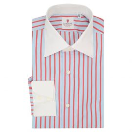 CORDONE 1956 Azure and Red Cotton Cam Striped Shirt