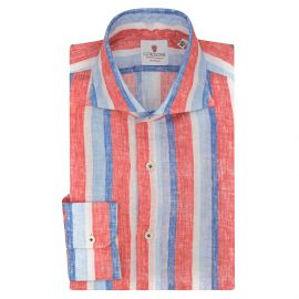 CORDONE 1956 Azure and Red Striped Linen Limited Edition Shirt