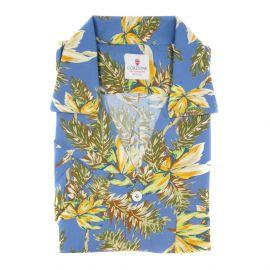 CORDONE 1956 Azure and Yellow Viscose Hawaiian Shirt