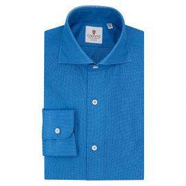 CORDONE 1956 Azure Cotton Giro Inglese Shirt