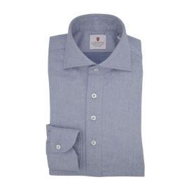 CORDONE 1956 Azure Flannel Long-Sleeved Polo Shirt