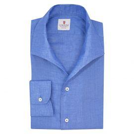 CORDONE 1956 Azure Linen Capri Collar Shirt