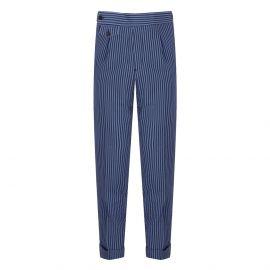 CORDONE 1956 Azure Striped Seersucker Trousers