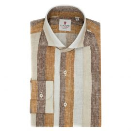 CORDONE 1956 Beige and Brown Big Striped Linen Limited Edition Shirt