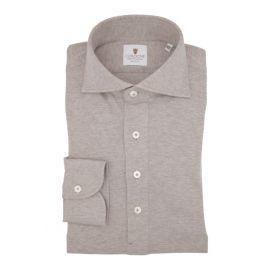 CORDONE 1956 Beige Cashmere Long-Sleeved Polo Shirt
