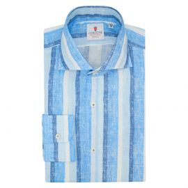CORDONE 1956 Blue and Azure Striped Linen Limited Edition Shirt