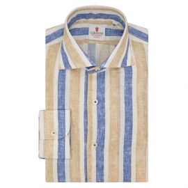 CORDONE 1956 Blue and Beige Striped Linen Limited Edition Shirt