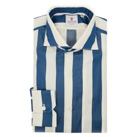 CORDONE 1956 Blue and Cream Wide Striped Cotton Limited Edition Shirt