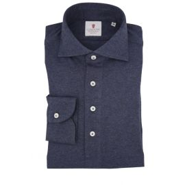 CORDONE 1956 Blue Cashmere Long-Sleeved Polo Shirt