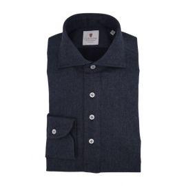 CORDONE 1956 Blue Flannel Long-Sleeved Polo Shirt
