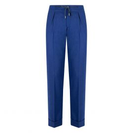 CORDONE 1956 Blue Flannel Trousers With Laces