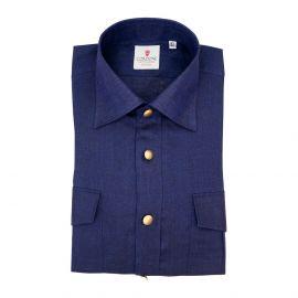 CORDONE 1956 Blue Linen Overshirt
