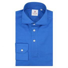 CORDONE 1956 Bluette Cotton Long Sleeve Polo Shirt