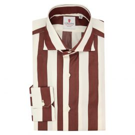 CORDONE 1956 Bordeaux and Cream Wide Striped Cotton Limited Edition Shirt