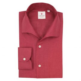 CORDONE 1956 Bordeaux Linen Capri Collar Shirt