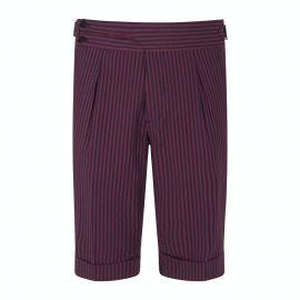 CORDONE 1956 Bordeaux & Navy Striped Seersucker Shorts
