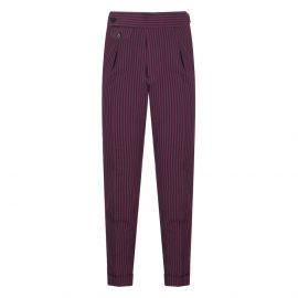 CORDONE 1956 Bordeaux & Navy Striped Seersucker Trousers