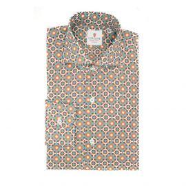 CORDONE 1956 Brown and Azure Mosaic Cotton Shirt