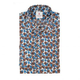 CORDONE 1956 Brown and Azure Hibiscus Cotton Shirt