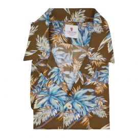 CORDONE 1956 Brown and Azure Viscose Hawaiian Shirt