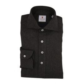 CORDONE 1956 Brown Flannel Long-Sleeved Polo Shirt
