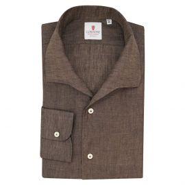 CORDONE 1956 Brown Linen Capri Collar Shirt
