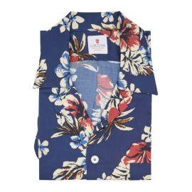 CORDONE 1956 Cream and Blue Viscose Hawaiian Shirt
