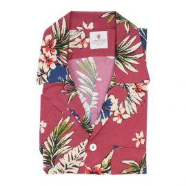 CORDONE 1956 Cream and Red Viscose Hawaiian Shirt