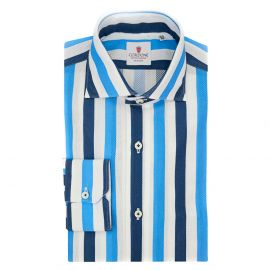CORDONE 1956 Giro Inglese Big Striped Azure and Blue Limited Edition Shirt