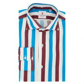 CORDONE 1956 Giro Inglese Big Striped Bordeaux and Azure Limited Edition Shirt