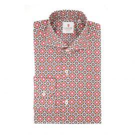 CORDONE 1956 Green and Bordeaux Mosaic Cotton Shirt