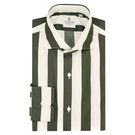 CORDONE 1956 Green and Cream Wide Striped Cotton Limited Edition Shirt