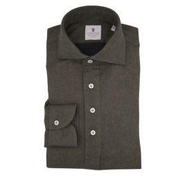 CORDONE 1956 Green Flannel Long-Sleeved Polo Shirt