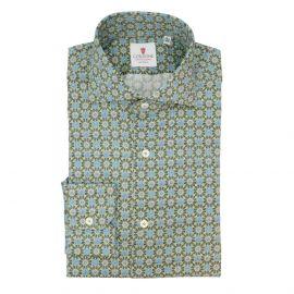 CORDONE 1956 Green Kaleidoscope Cotton Limited Edition Shirt
