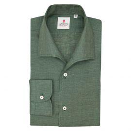 CORDONE 1956 Green Linen Capri Collar Shirt