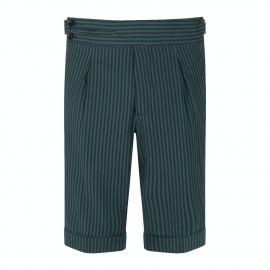 CORDONE 1956 Green & Navy Striped Seersucker Shorts