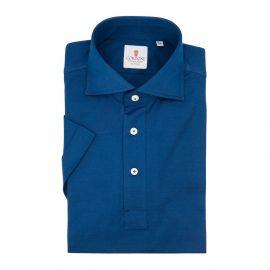 CORDONE 1956 Navy Cotton Short Sleeve Polo Shirt